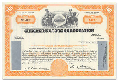 Checker Motors Corporation Stock Certificate (Taxi Cabs)