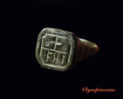 ** EXTRAORDINARY **  Ancient Byzantine bronze ring ** CROSS & INSCRIPTION **