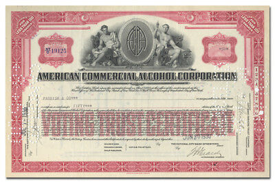 American Commercial Alcohol Corporation Stock Certificate
