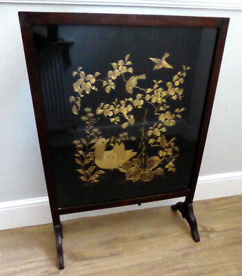 Antique Chinese Gold Embroidered Panel On Silk Of A Bird In Nest ~ 65 Cm X 73 Cm