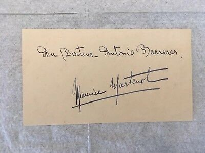 Original Autograph Maurice Martenot French Cellist,  Radio Telegrapher During WW