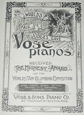 Antique Art Nouveau VOSE PIANO Print Ad~Worlds Fair Columbian Exposition Chicago