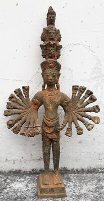 Rare Antique Khmer Style Bronze Bayon Hevajra Statue 19 th