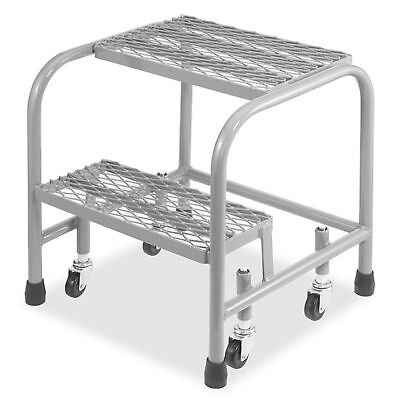 Utility 2-Step Ladder Portable Stool w/ Wheels 2 Step Utility Step Ladder - Gray