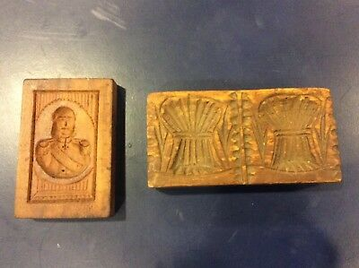 2 antique wood butter stamps = Soldier & Wheat Shafts