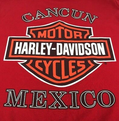 Vintage Harley Davidson Red Tank Top T-Shirt Large L Sleeveless Cancun Mexico