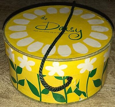 "Vintage Wig Hat Box Carrying/Storage/Travel Case ""The Daisy"" Yellow floral CUTE!"