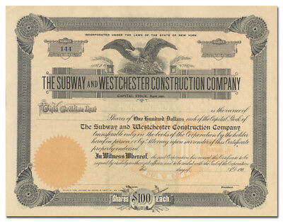 Subway and Westchester Construction Company Stock Certificate (New York)