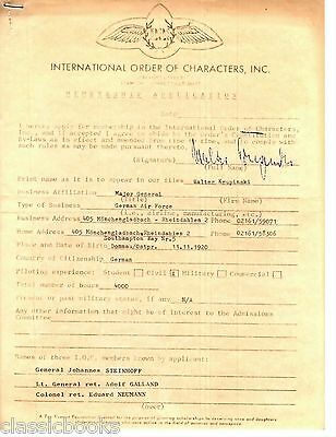 Walter Krupinski  Signed Document Historical  German Aviation WWII