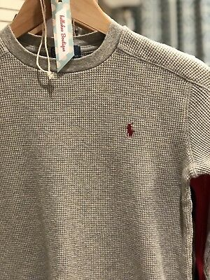 Pre-owned Polo Ralph Lauren Boys Ribbed Sweater -Heather Gray- Size 7
