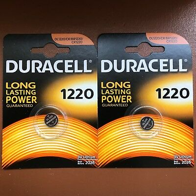 2 X Duracell CR1220 3 Volt Piles Lithium Batterie 1220 DL1220 Longest Expiration