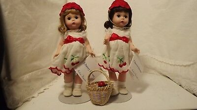 "1999 Madame Alexander 8"" Cherry Twins Dolls With Tags & Stands"