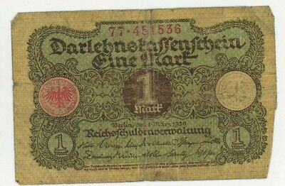 1920 1 Mark Banknote Germany Paper Money
