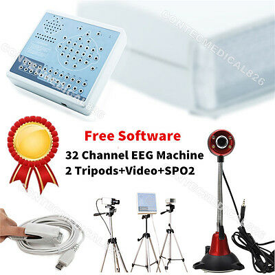 32 Channel Digital Brain Electric Activity Mapping EEG machine+Video+SPO2+SW