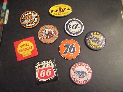 GAS / OIL 9 Magnets Chevy Service Shell Musgo Johnson Phillips 66 Union 76 Pur