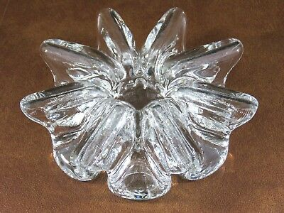 "Unique Orrefors Hand Crafted 7"" Wavy Ribbon Crystal Deco Candle Holder Glass Art"