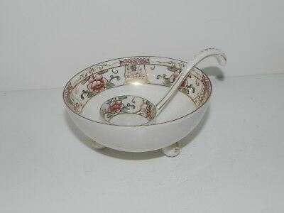 Vtg Hand Painted Nippon Sauce Bowl & Ladle Spoon Pink Blossoms Roses Footed Dish