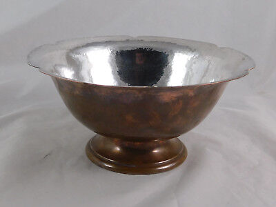 Arts & Crafts 6 Lobe Bowl Hammered Copper & Silver George Gebelein Boston