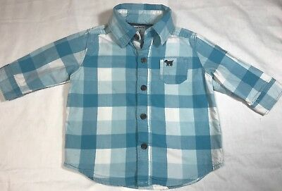 Carter's Baby Boy's 3M Button Down Shirt Blue/White Checked Chest Pocket EUC