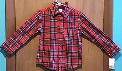 Carter's Toddler Boy 3T Shirt Button Down Red/Black Plaid 100% Cotton Pocket NWT
