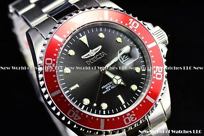 Invicta Mens 43mm Pro Diver Submariner Red Bezel Black Dial Screw Crown SS Watch