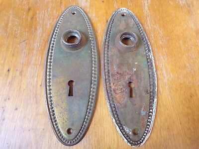 Vintage Door Plate Back Plate Skeleton Key Hole Escutcheons Victorian Copper #10