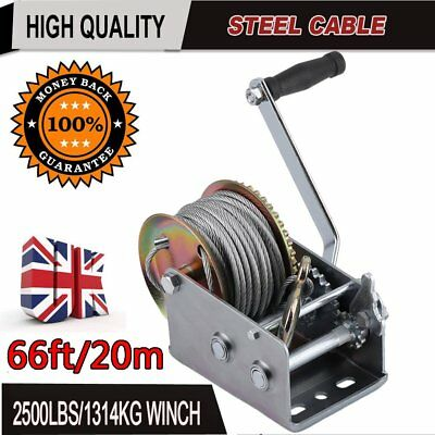 2500lbs Hand Winch Steel Cable/4WD Trucks Boat Trailer Manual Winch/2-Speed