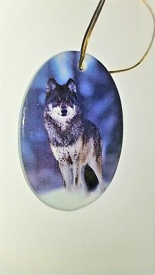 Vintage Porcelain Wolf Hanging Ornament On Gold Cord Excellent Condition !!