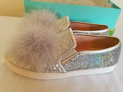 9e99ffdaaf50 Kate Spade Latisa Silver Metallic Leather Sequin Feather Pom Slip On Sneaker  8.5