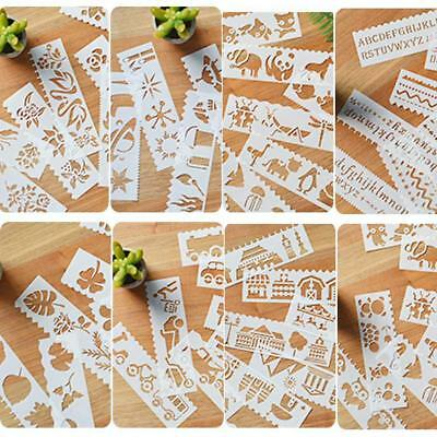 8PCS New Airbrush Template Painting Stencils Scrapbooking Decor Art Wall Craft