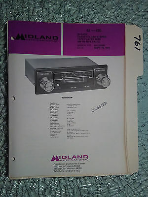 Midland 65-470 service manual original repair book tape radio am/fm mpx in dash