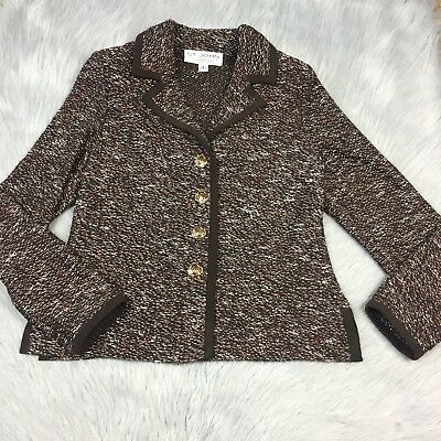 St John Collection Brown Tweed Knit Button Up Jacket Sz 2