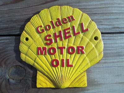 Cast Iron Golden Shell Motor Oil Sign Plaque Clam Shaped Wall Sign Ready To Hang
