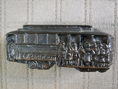 Vintage San Francisco Trolley Cable Car Bronze Die Cast Miniature Paper Weight