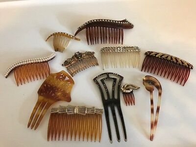 Lovely Lot Vintage Antique Celluloid Metal Deco Hair Combs
