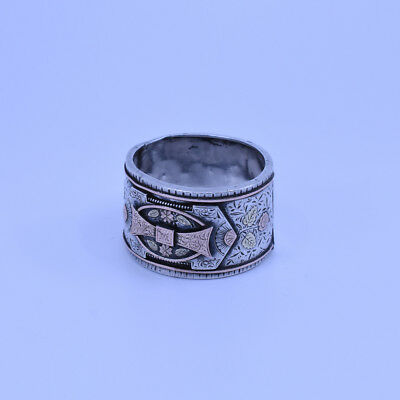 Very Stylish Gold & Sterling Silver Tri-coloured Napkin Ring, Victorian period