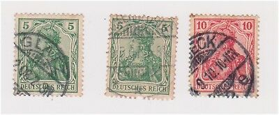 (GE-23) 1902 Germany mix of 3stamps 5pf x2 &10pf DEUTSCHES REICH Post (W)