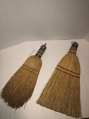 Two Vintage Old Farmhouse Whisk Brooms Wire Wrapped Handle Broom Folk Art Hooks