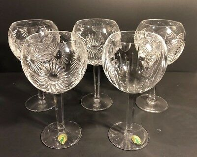 5 Waterford Crystal Millennium Toasting Balloon Goblets Paper Label