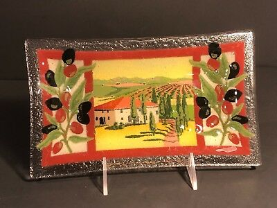 "Peggy Karr Plate Tray Olive Garden 9 1/2"" Inches Signed"