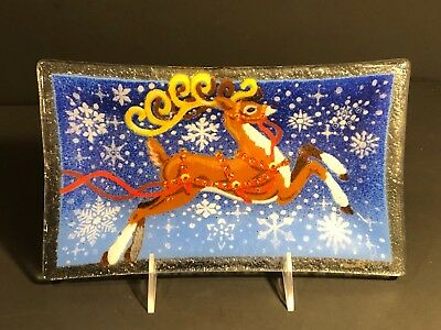 "Peggy Karr Plate Tray Reindeer 9 1/2"" Inches Signed and box"