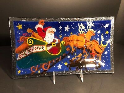"Peggy Karr Plate Tray Christmas Santa and Reindeer 14"" Inches Signed"