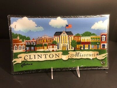 "Rare Peggy Karr Plate Tray Clinton Missouri 14"" Inches Signed"