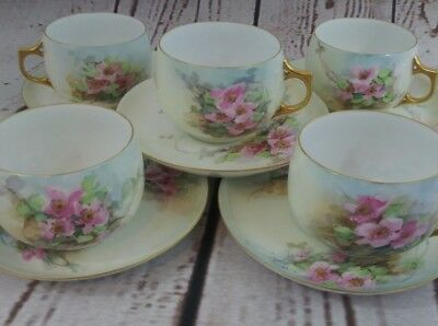 AK France Limoges Pottery Heavy Gold Trim Tea Cup Saucers Pink Floral Lot of 5