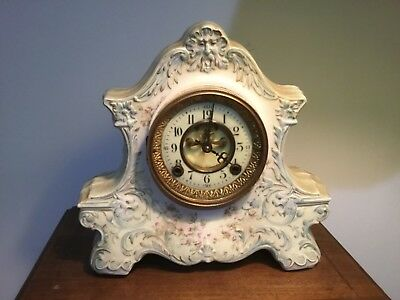 Porcelain  clock for parts or reaper.