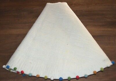 "Pottery Barn Kids Merry & Bright Wool Felted 54"" Ivory Christmas Tree Skirt"