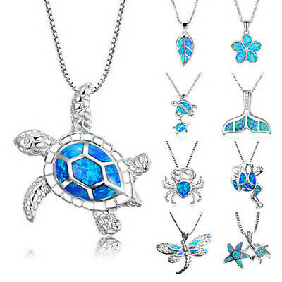 1PC Women Silver Filled Blue Opal Sea Turtle Cutout Pendant Necklace Beach Gift