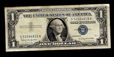 1957-B Silver Certificate blue Seal 1 Dollar UNITED STATES  S 52584815 A (91B)