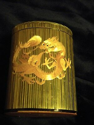"Chinese Dragon Straw Marquetry Box 5 1/2"" by 4"""
