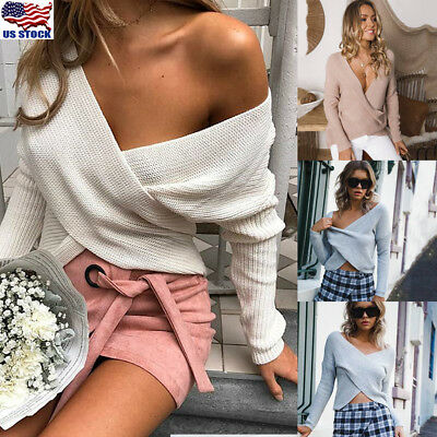 Women Winter Wrap V Neck Front Cross Casual Knitted Tops Sweater Jumper Pullover